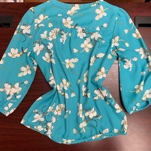 LOFT Tops - Loft blue floral blouse